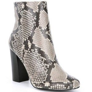STEVE MADDEN PIXIE SNAKE PRINT FAUX LEATHER BOOTIE